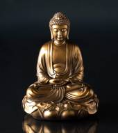 Sitting Buddha on lotus in Bronze color