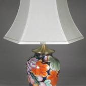 Large Chinese table lamp blue with fruits - Natura 2