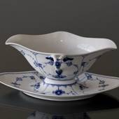 Blue Fluted, Plain, Souce Boat on Fixed Stand, capacity 45 cl., Royal Copen...