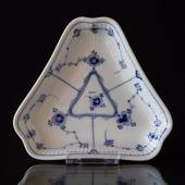 Blue Fluted Plain Triangular Pickle Dish, Royal Copenhagen 16cm