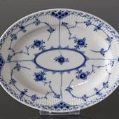 Blue Fluted, Half Lace, oval dish 26cm