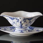 Blue Fluted, Half Lace, Sauce Boat on Fixed Stand, capacity 45 cl., Royal C...