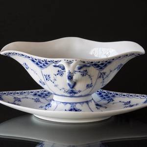 Blue Fluted, Half Lace, Souce Boat on Fixed Stand, capacity 45 cl., Royal C...