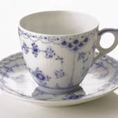 Blue Fluted, Half Lace coffee cup