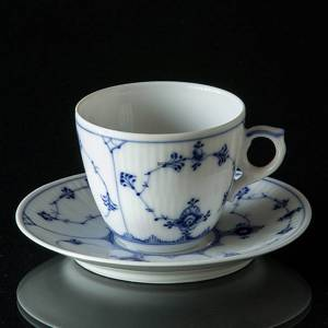 Blue Fluted, Plain, Expresso Cup with saucer