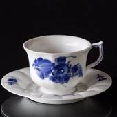 Blue Flower, Angular, Large Tea Cup and saucer, Royal Copenhagen