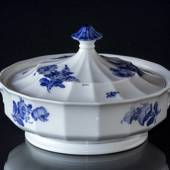 Blue Flower, Angular, roundl Dish with Cover