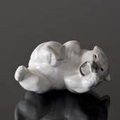 White Polar Bear cub rolling figurine, Royal Copenhagen no.21432