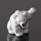 White Polar Bear Cub fist high figurine, Royal Copenhagen no. 21433
