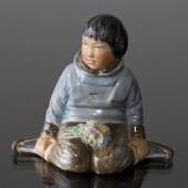 Greenlandic boy with Bouquets, Royal Copenhagen overglaze no. 12419