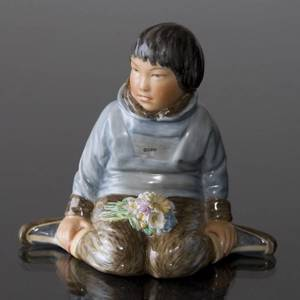 Greenlandic boy with Bouquets, Royal Copenhagen overglaze no. 12419 | No. 1007255 | Alt. R12419 | DPH Trading
