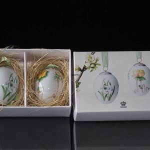 Easter egg with snowdrop and winter aconite, 2 pcs., Royal Copenhagen Easte...