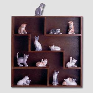 12 cat figurines Royal Copenhagen