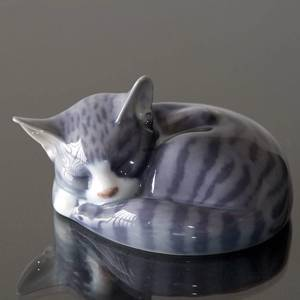 Sleeping tabby Cat, Royal Copenhagen figurine no. 422