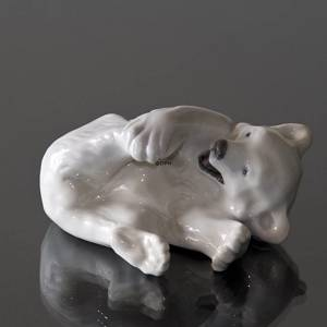 Polar Bear playing with its foot, Royal Copenhagen figurine no. 729