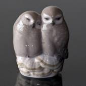 Pair of owls, Royal Copenhagen bird figurine no. 834