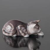 Tabby Cat tiptoeing,Royal Copenhagen figurine