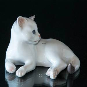 White Kitten, lying down, Bing & Grondahl cat figurine no. 2504 | No. 1020504 | Alt. B2504 | DPH Trading