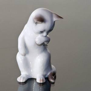 White kitten standing, Bing & Grondahl cat figurine no. 2506