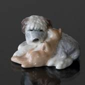 Old English Sheepdog Cuddling with Cat, Royal Copenhagen dog figurine