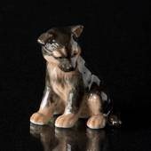 German Shepherd Puppy Sitting, Royal Copenhagen dog figurine