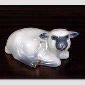 Lamb, Lying down looking curiously up, Royal Copenhagen figurine