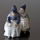 Amager Girls, Reading while in Regional Costume, Royal Copenhagen figurine ...