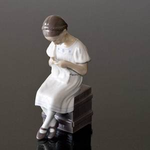 Grethe, Girl sitting and knitting, Bing & Grondahl figurine no. 1656