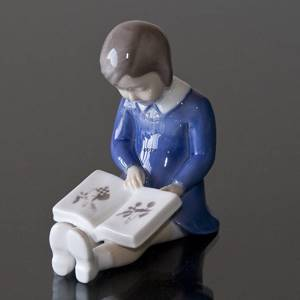 First book girl reading a book, Bing & grondahl figurine no. 2247