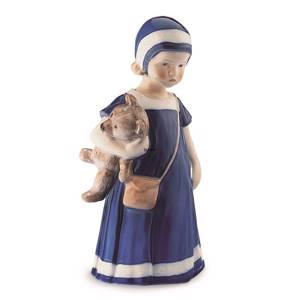 Else with Teddy bear, girl standing, Royal Copenhagen figurine