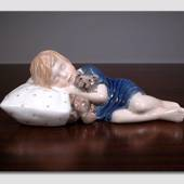 Else Sleeping, Girl lying with Teddy, figurine
