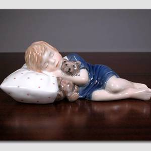 Else Sleeping, Girl lying with Teddy, figurine | No. 1021675 | Alt. 1021675 | DPH Trading
