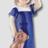 Else Waiting, Girl standing with Teddy, Royal Copenhagen figurine