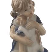 Else with Puppy, sitting Girl with Puppy, figurine