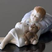 Jens sleeping, sleeping boy with his teddy bear, Royal Copenhagen figurine