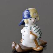Snowman Boy on Skiis, Royal Copenhagen winter figurine