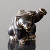 Bear Cub paw raised for attack, Royal Copenhagen stoneware figurine no. 214...