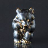Bear Cub sitting down looking scared, Royal Copenhagen stoneware figurine n...