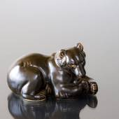 Bear lying comfortably, Royal Copenhagen stoneware figurine no. 21520