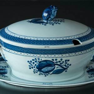 Royal Copenhagen/Aluminia Tranquebar, blue, Tureen on dish | No. 11-920-F | DPH Trading