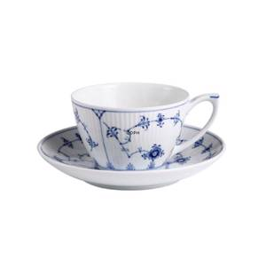 Blue Fluted, Plain, large tea cup and saucer, capacity 28 cl., Royal Copenh...