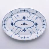 Blue Fluted, Plain, Flat oval Serving Dish 34cm