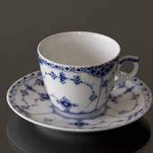 Blue Fluted, Half Lace, small Coffeee Cup and saucer, Royal Copenhagen