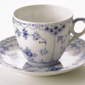 Blue Fluted, Half Lace, large Coffeee Cup, capacity 17 cl., Royal Copenhage...