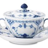 Blue Fluted, Half Lace, Soup Cup with lid, capacity 35 cl., Royal Copenhage...