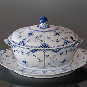 Blue Fluted, Half Lace, Soup Tureen with Cover, capacity 200 cl., Royal Cop...
