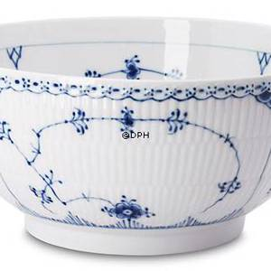 Blue Fluted, Half Lace, Round Salad Bowl, capacity 220 cl., Royal Copenhagen 25cm | No. 1102579 | Alt. 1-631 | DPH Trading