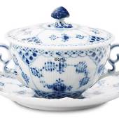 Blue Fluted, Full Lace, Soup cup with Lid, capacity 35 cl., Royal Cope...
