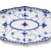 Blue Fluted, Full Lace, oval Pickle Dish, Royal Copenhagen 24cm