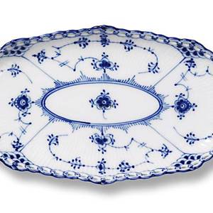 Blue Fluted, Full Lace, oval Pickle Dish, Royal Copenhagen 24cm | No. 1103349 | Alt. 1-1115 | DPH Trading